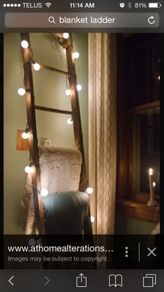 Blanket ladder with xmas lights