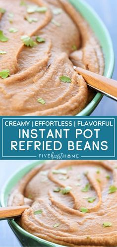 Instant Pot Refried Beans are easy to make from scratch! You don't need anything fancy to get creamy homemade beans that are so much more flavorful than canned. It's definitely the best side dish for all your favorite Mexican recipes! Pin this for later! Best Mexican Recipes, Real Food Recipes, Vegan Recipes, Yummy Recipes, Mexican Side Dishes, Best Side Dishes, Easy Dinner Recipes, Appetizer Recipes, Easy Meals