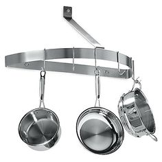 This half circle pot rack is a great way to hang your pots and pans when space is limited in the kitchen. Brushed stainless steel finish is sleek and attractive.
