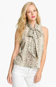 Eight Sixty Sleeveless Tie Neck Blouse (Petite) available at Nordstrom