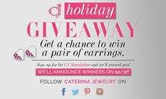 Get a chance to win a pair of earrings with our holiday giveaway. More info: http://caterinajewelry.com/2015/12/11/get-ready-for-the-winter-holidays-with-a-special-giveaway/