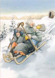 Inge Löök (b.1951) — Grannies Having Fun Bobsleding (805x1137)