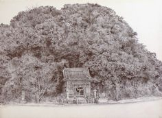 Acoustic Drawings The Shinji Ogata Gallery: Landscape from Ashikita 1  芦北町田ノ浦御立岬: 祠のある風景 1