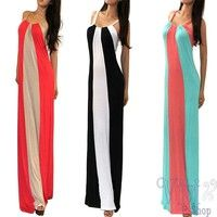 Wish   New Fashion Women Casual Long Dress 2014 Summer Ladies Sexy Sleeveless Multi Color Block Striped Maxi Dresses