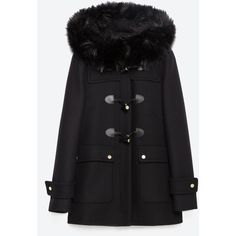 Zara Duffle Coat With Faux Fur Lined Hood (€255) ❤ liked on Polyvore featuring outerwear, coats, black, zara coat, black coat, black duffle coat and duffle coat