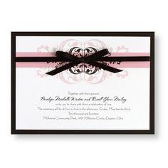 Modern Romance - Contemporary horizontal invitation tied together with satin ribbon