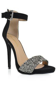 promise Kesha Embellish Front Strap Dress Sandal in Black
