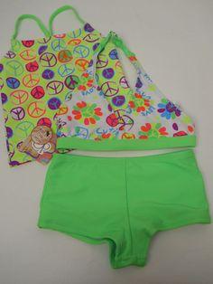 GIRLS 3PC Swim Set OP Size XS 4/5 Halter Top Green Print Spaghetti Straps Swimwe #Op #TankiniSet