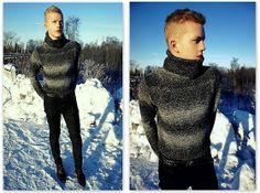 H&M Turtleneck, H&M Brown Leather Belt, Skinny Jeans, Tiger Of Sweden Brown Leather Shoes