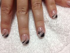 Black and white gel with black polish#beauty#trends#summer#winter #fall