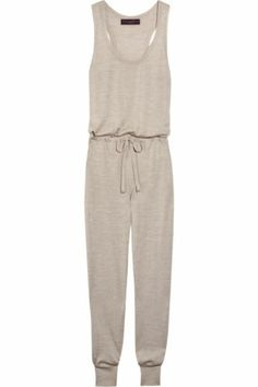 HOW TO WEAR THIS TREND :  KNIT ROMPER TREND - KNIT OVERALLS - KNIT SALOPETTE  Stella McCartney Taupe Cashmere Silk Knit Jumpsuit Romper