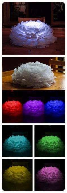 Light up paper flower. Beautiful centerpiece for weddings and events. Each flower is capable of providing multiple colors using a remote controlled LED light. This piece creates the perfect uplight for any occasion. Paper Flower Centerpieces, Paper Flower Arrangements, Paper Flower Wreaths, Paper Flower Art, Large Paper Flowers, Paper Flowers Wedding, Tissue Paper Flowers, Paper Flower Tutorial, Paper Flower Backdrop