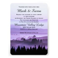 Purple Rustic Mountain Wedding Invitation, features a beautiful view of a valley with a silhouette of pine forest trees. Available in a variety of colors.