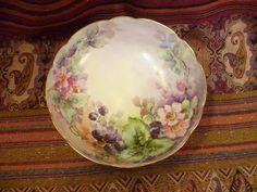 Antique T&V Limoges France Hand Painted Punch Bowl Porcelain Footed Signed #TVLimoges