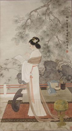 Chinese Beauty- paintings often express the values of elegance and beauty, and usually represent a simple form of background with very flowing detail in the main image.