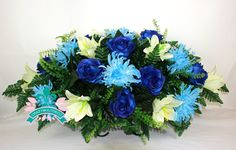 XL Beautiful White Lilies And  Blue Roses Tombstone Saddle Arrangement, $42.99