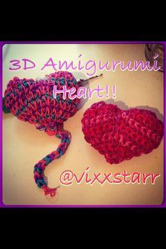 3D Squishy Heart Balloon Beginners Amigurumi Tutorial Rainbow Loom