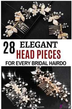 Elegant and unique floral themed bridal and wedding headpieces adorned with Beautiful Sparkling Crystals and Pearls. They come in various styles inspired by stunning floral designs that are suitable for all types of wedding hairstyles and bridal hairdo. Beach Wedding Headpieces, Hair Comb Wedding, Wedding Hair Pieces, Headpiece Wedding, Wedding Belts, Diy Wedding, Wedding Decor, Wedding Flowers, Wedding Ideas