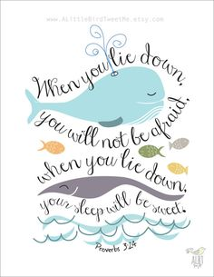 Christian Children Print. Whale Illustration. Proverbs 3:24. Typography Artwork.  Digital Print at Home 8.5 x 11 on Etsy, $7.00