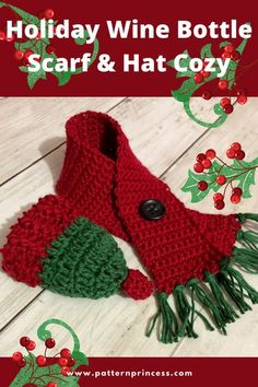 It is not too late to whip up this quick last minute Holiday wine bottle scarf & hat cozy. In just under an hour this cute adornment can be completed. This miniature set is so cute even as a… More Christmas Crochet Patterns, Holiday Crochet, Crochet Gifts, Free Crochet, Crochet Cozy, Hat Crochet, Diy Gifts For Kids, Easy Diy Gifts, Diy Crafts On A Budget