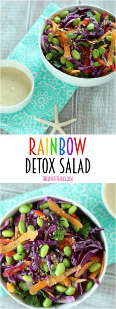 Need a little help getting back on track? This detox salad is made with a rainbow of raw veggies and sweet Tahini Dressing you will go crazy for! Tasty Vegetarian Recipes, Easy Healthy Recipes, Raw Food Recipes, Clean Dinner Recipes, Clean Eating Dinner, Rainbow Salad, Benefits Of Organic Food, Detox Salad, Get Thin