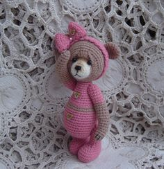 Artist teddy bear Thread crochet OOAK Miniature Mini. $62,00, via Etsy.
