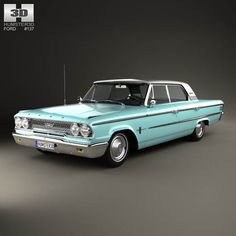 Ford Galaxie 500 4-door hardtop with HQ interior 1963 3d model from humster3d.com. Price: $125