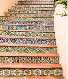 Ideas for tile stairs outdoor stairways Tiled Staircase, Tile Stairs, Mosaic Stairs, Basement Stairs, Mosaic Tiles, Spanish Tile, Spanish Colonial, Mexican Style, Mexican Heritage