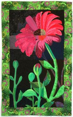 Flower art quilt by Linda Cline - photo by Tomme at Flickr