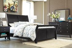 Almost Black Marinday King Sleigh Bed View 4