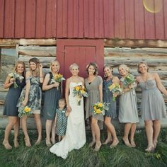 Caitlin's seven bridesmaids chose their own grey dresses, and tied their looks together with matching pale-yellow wedges.