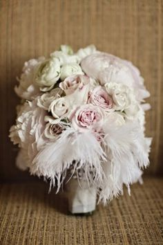 Pink and White Feather Bridal Bouquet perfect for blush wedding