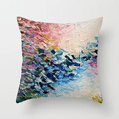 PARADISE DREAMING Colorful Pastel Abstract Art Painting Textural Pink Blue Tropical Brushstrokes Throw Pillow