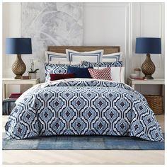 Tommy Hilfiger Ellis Island Comforter Set (160 CAD) ❤ liked on Polyvore featuring home, bed & bath, bedding, comforters, blue, vintage comforter sets, blue bedding, patterned bedding, ikat bedding and vintage comforters