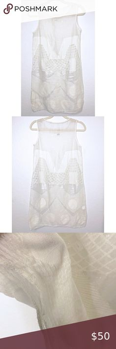 NWT   IVORY 6-7-yrs MAX STUDIO LINEN-LACE  Girl Dress Size-7