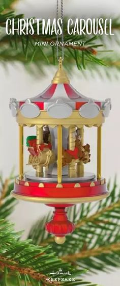 This Hallmark Keepsake Ornament features the most idyllic winter - christmas carousel decoration
