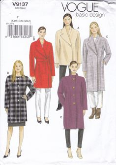 FREE US SHIP Vogue 9137 Wrap Button Collar Variations Jacket Coat New Size 4/14 16/26 4 6 8 10 12 14, 16 18 20 22 24 26  Uncut by LanetzLiving on Etsy
