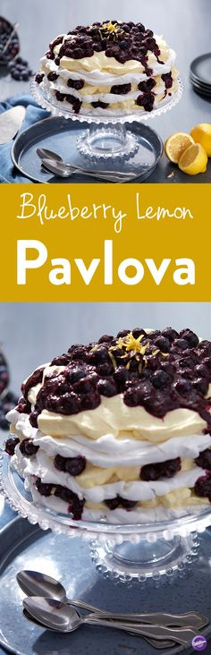 Layered Blueberry Lemon Pavlova Recipe - Learn how to make this beautiful layered Blueberry Lemon Pavlova! It's a delicate, sweet dessert made from meringue, fresh fruit, and fresh whipped cream. This easy to make, light and delicious Pavlova is the perfect addition to bridal and baby showers or brunch. Makes 10-12 servings.