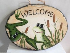 """Frogs Welcome Slate Wall Plaque Hand Painted Suede Cord Indoor Outdoor 9.5"""" L"""