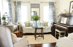 french country living room decor - I love the big ol Piano!! :)   I want an office/library/music room like this :)
