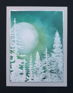 Moonlit Forest by hobbydujour - Cards and Paper Crafts at Splitcoaststampers- Moonlit Forest winter scene card by Sallie (hobbydujour) Christmas Paintings, Scene Cards, Winter Scenes, Watercolor Cards, Painting, Watercolor Christmas Cards