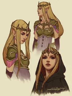 Princess Zelda Sketches by Zolaida female elf queen half-elf armor clothes clothing fashion player character npc | Create your own roleplaying game material w/ RPG Bard: www.rpgbard.com | Writing inspiration for Dungeons and Dragons DND D&D Pathfinder PFRPG Warhammer 40k Star Wars Shadowrun Call of Cthulhu Lord of the Rings LoTR + d20 fantasy science fiction scifi horror design | Not Trusty Sword art: click artwork for source