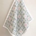 刺し子の布巾(枡刺し/緑×水色×ピンク))