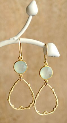 Seafoam chalcedony bezel vine earrings gold
