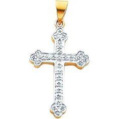 14K Two Tone Gold Diamond Cross Pendant Jewelry , http://www.amazon.ca/dp/B00BLHP3JO/ref=cm_sw_r_pi_dp_CCGPrb1AZ1NQG