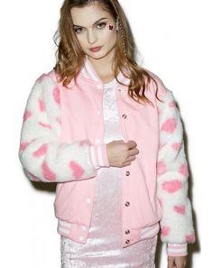 Nikki Lipstick Furry Heart Varsity Jacket   Dolls Kill