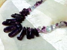 Chevron Amethyst Fan Necklace With Fluorite by NorthCoastCottage