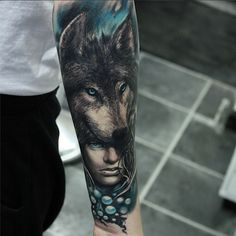 The texture in the wolf's fur is amazing by Piotr Cwiek #InkedMagazine #wolf