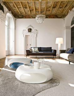 amazing ornate details with modern furniture & Louis Poulsen 'Artichoke'
