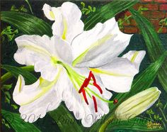 Casa Blanca Lily Original Acrylic Painting by LauraWilsonGallery